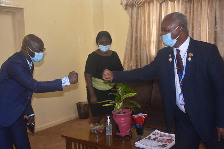 UL President Dr. Nelson greets Vega Energy's Vice President Mr. Prempeh